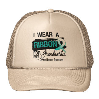Cervical Cancer Ribbon For My Grandmother Mesh Hats