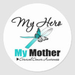 Cervical Cancer Ribbon My HERO My Mother Round Stickers