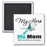 Cervical Cancer Ribbon My HERO My Mum Magnet