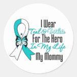 Cervical Cancer Ribbon My Hero My Mummy Round Sticker
