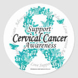Cervical Cancer Ribbon of Butterflies Round Stickers