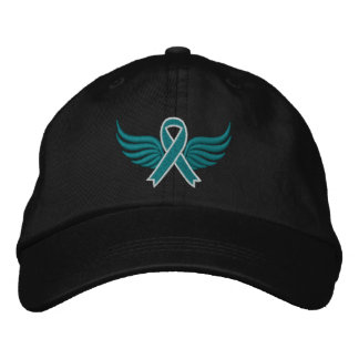 Cervical Cancer Ribbon Wings Embroidered Cap
