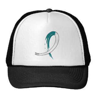Cervical Cancer s Teal and White Ribbon A4 Mesh Hat