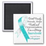 Cervical Cancer Support Strong Survivor Refrigerator Magnet
