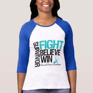 Cervical Cancer Survivor Fight Believe Win Motto T-Shirt