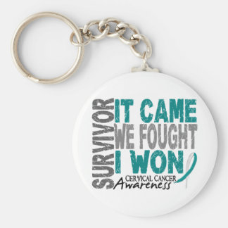Cervical Cancer Survivor It Came We Fought I Won Basic Round Button Key Ring