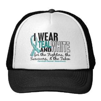 CERVICAL CANCER Teal White For Fighters Survivors Trucker Hat