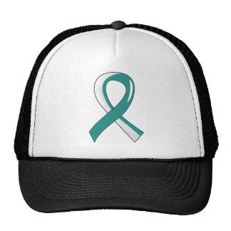 Cervical Cancer Teal White Ribbon 3 Cap