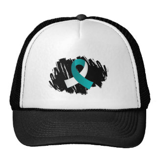 Cervical Cancer Teal White Ribbon With Scribble Trucker Hat