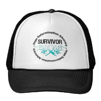 Cervical Cancer Tribal Ribbon Trucker Hats
