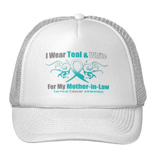 Cervical Cancer Tribal Ribbon Mother-in-Law Trucker Hats