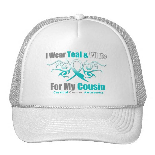 Cervical Cancer Tribal Ribbon Support Cousin Trucker Hats