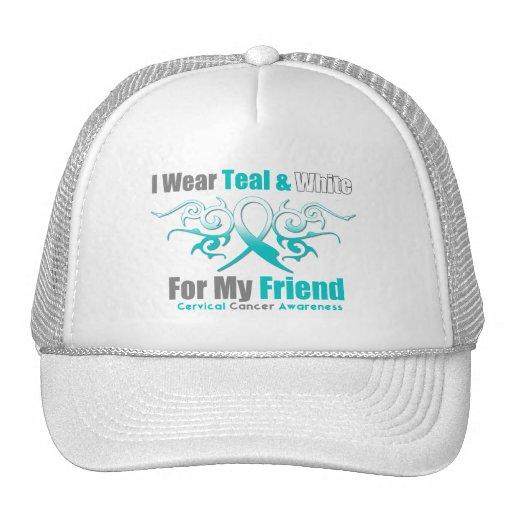 Cervical Cancer Tribal Ribbon Support Friend Trucker Hat