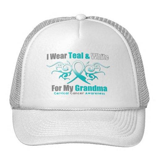 Cervical Cancer Tribal Ribbon Support Grandma Mesh Hats