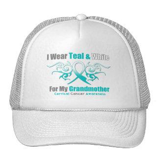 Cervical Cancer Tribal Ribbon Support Grandmother Mesh Hats