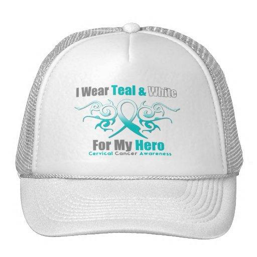Cervical Cancer Tribal Ribbon Support HERO Mesh Hats