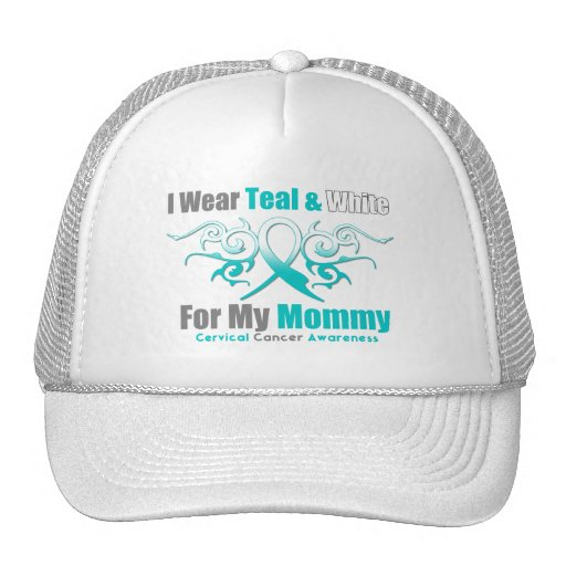 Cervical Cancer Tribal Ribbon Support Mommy Trucker Hats