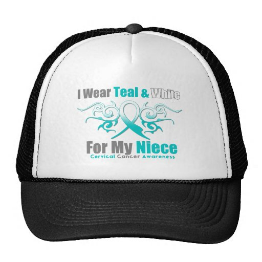 Cervical Cancer Tribal Ribbon Support Niece Trucker Hats