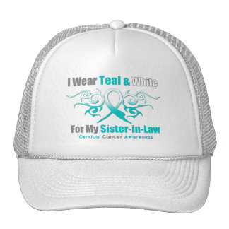 Cervical Cancer Tribal Ribbon Support SisterInLaw Trucker Hat