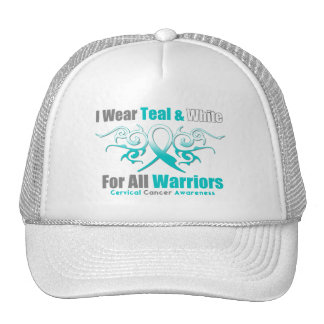 Cervical Cancer Tribal Ribbon Support Warriors Trucker Hat