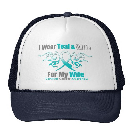Cervical Cancer Tribal Ribbon Support Wife Hat