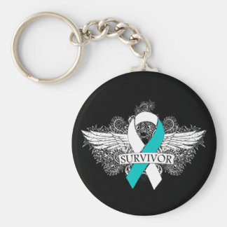 Cervical Cancer Winged SURVIVOR Ribbon Basic Round Button Key Ring