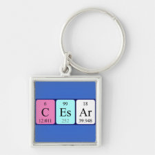 Keyring featuring the name Cesar spelled out in symbols of the chemical elements