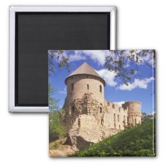 Cesis Castle in central Latvia. Square Magnet