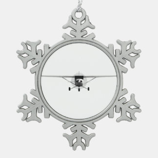 Cessna 152 snowflake pewter christmas ornament