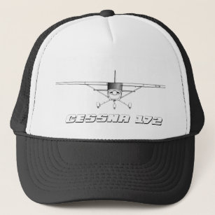 43f1bd0f8d5352 Cessna 172 Skyhawk with Front Line Drawing Trucker Hat