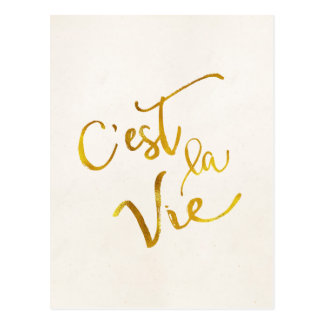 C'est La Vie Gold Faux Foil Metallic Motivational Postcard