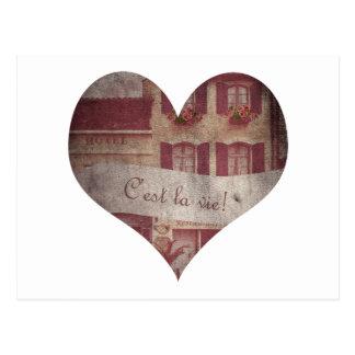 """""""C'est la vie!"""" Heart Postcard"""