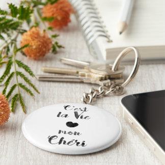 C'est la Vie mon Chéri Basic Round Button Key Ring