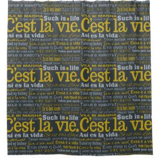 C'est La Vie multilingual shower curtain