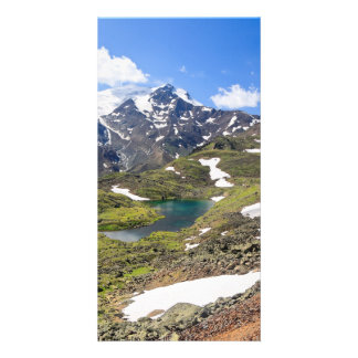 Cevedale mount and small lake photo card template