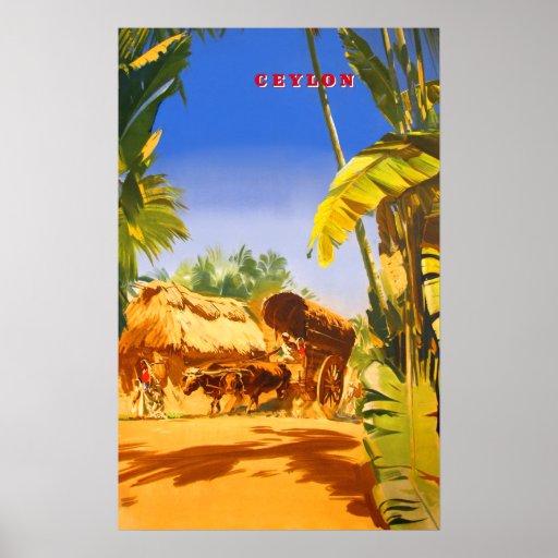 Ceylon vintage travel poster