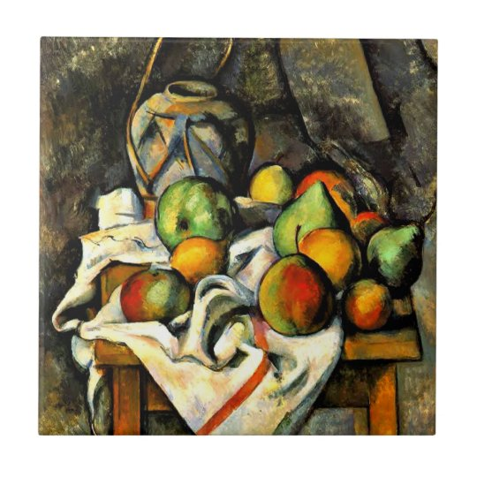 Cezanne - Ginger Jar and Fruit Small Square Tile