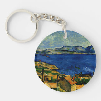 Cezanne - Gulf of Marseille seen from L'Estaque Double-Sided Round Acrylic Key Ring