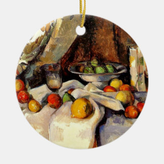 Cezanne - Still life, Post, Bottle, Cup and Fruit Christmas Ornament