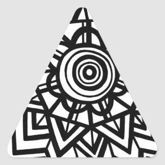 Cezil Abstract Expression Black and White Triangle Sticker