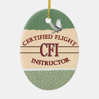 CFI LOGO RED CERTIFIED FLIGHT INSTRUCTOR CERAMIC OVAL DECORATION