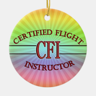 CFI LOGO RED CERTIFIED FLIGHT INSTRUCTOR CHRISTMAS ORNAMENT