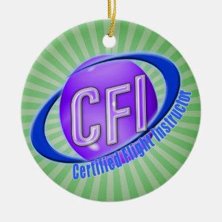 CFI ORB SWOOSH LOGO CERTIFIED FLIGHT INSTRUCTOR ROUND CERAMIC DECORATION