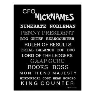 CFO Nicknames (male) Poster print
