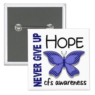 CFS Chronic Fatigue Syndrome Butterfly 15 Cm Square Badge
