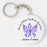 CFS Chronic Fatigue Syndrome Butterfly Basic Round Button Key Ring