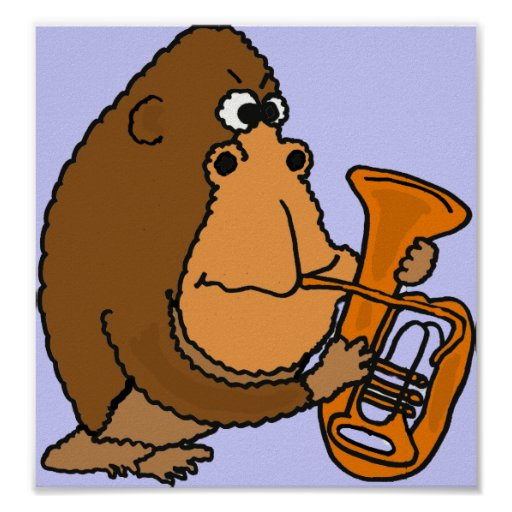 CG- Funny Gorilla Playing the Tuba Poster