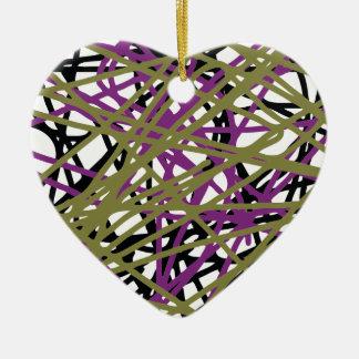 CGDHFN Abstract Digital Line-Art Ceramic Heart Decoration
