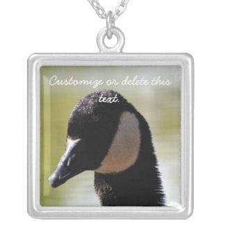 CGF Canada Goose Face Square Pendant Necklace