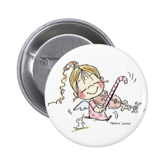 CH-008 Christmas Fiddler 6 Cm Round Badge
